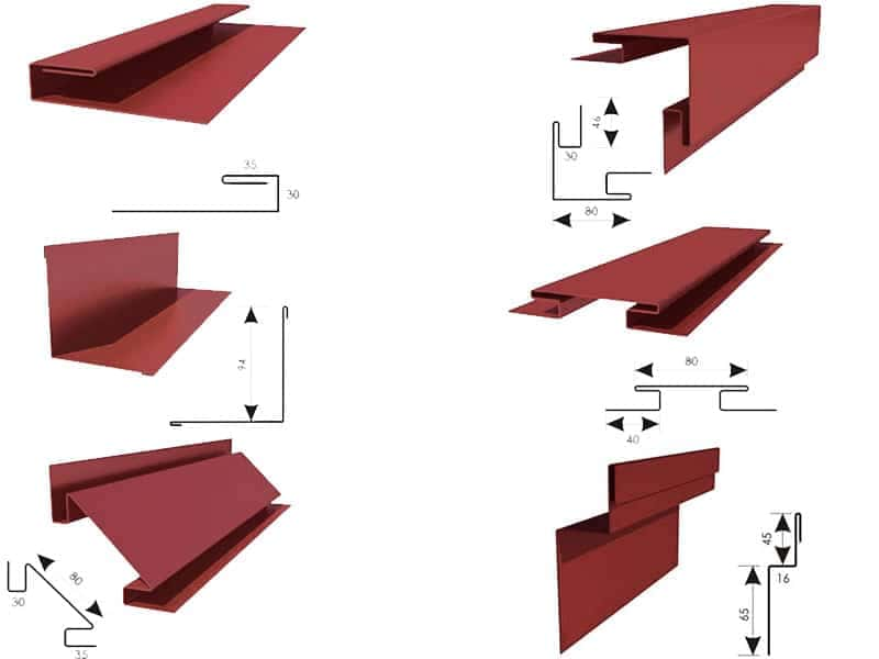 Доборные элементы металлосайдинга: внешний угол, начальная планка